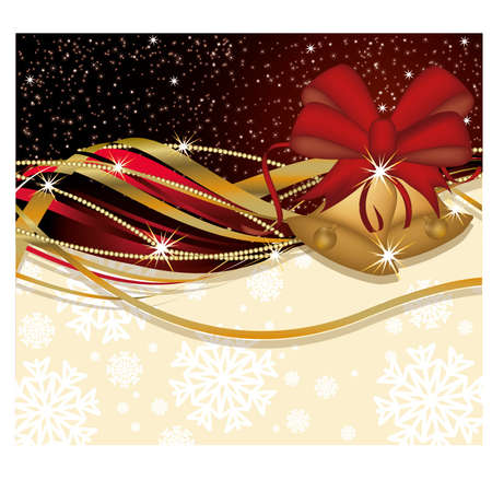 Christmas banner with golden bells, vector illustration Vector