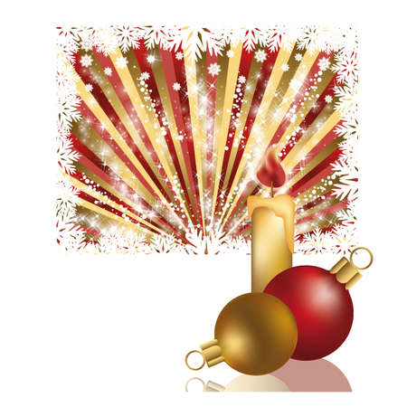 glassy: Two  xmas balls and candle, vector illustration