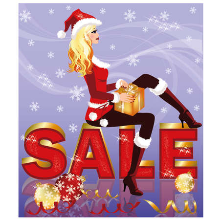 Christmas sale card with santa girl and giftbox   illustration Vector
