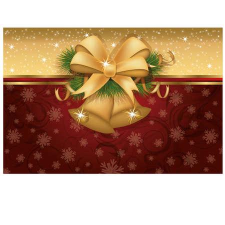 Christmas invitation card with golden bells, illustration Vector