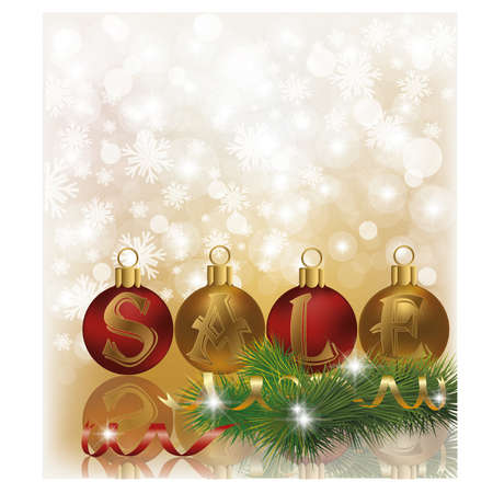 Winter sale background with christmas balls, vector Stock Vector - 16953011