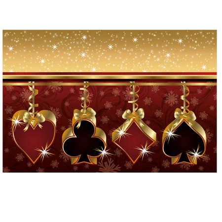 aces: Christmas poker golden card,  illustration Illustration