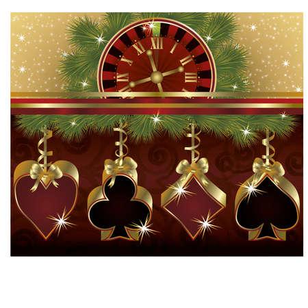 bluff: Sfondo di lusso Natale poker, illustrazione