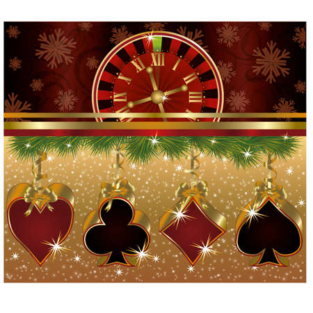 Christmas poker red golden background Vector