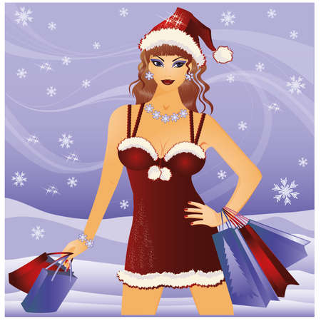 Shopping christmas girl Vector