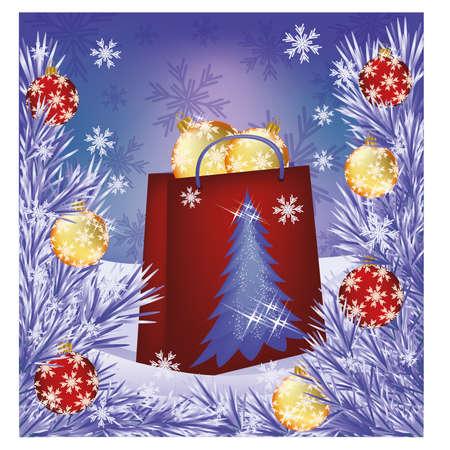 Christmas sale card  Shop bag presents with balls Vector