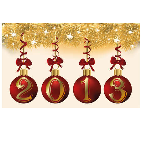 New 2013 year with red xmas balls, vector illustration Stock Vector - 17031896