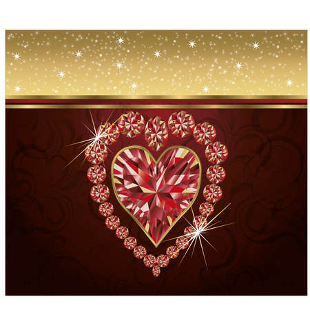 Valentine s day with elegant ruby heart Vector
