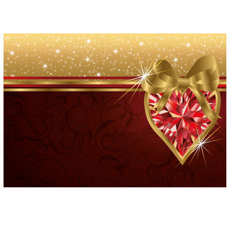 ruby: Valentine s day invitation card with ruby heart