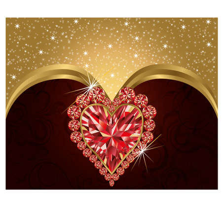 Valentines day elegant postcard  with ruby heart Vector