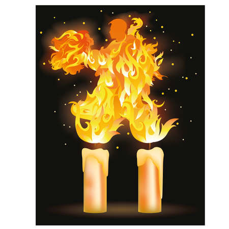 Two fire  lovers dancing Stock Vector - 17070361