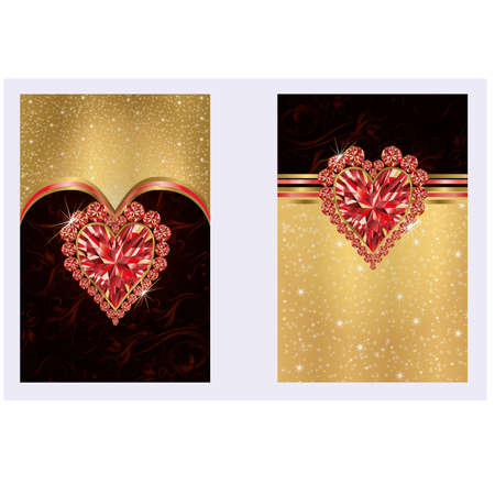 Valentine s day banners with ruby heart Vector