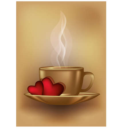morning: Valentines day coffee card, vector illustration