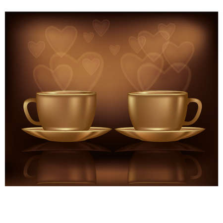 fortunetelling: Valentines day card with two coffee and hearts, illustration