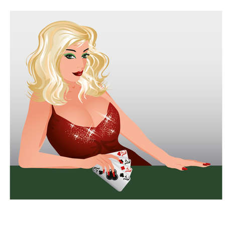 Blonde Poker girl with cards , vector illustration  Vector