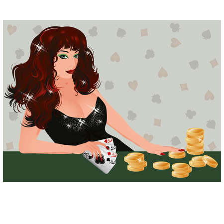 happiness ace: Brunette Poker girl with cards and coins, vector illustration