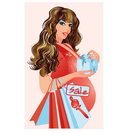 Pregnant woman with shopping bags, illustration Stock Vector - 17276943