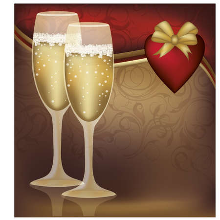Two Champagne Glasses with  Heart  illustration  Vector