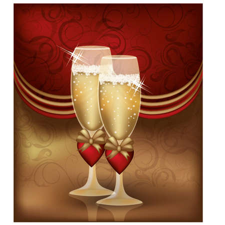 Love card with champagne, illustration Vector