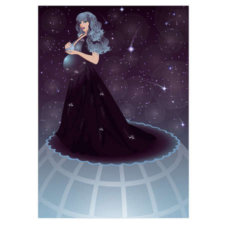 Pregnant night sky women, vector illustration Vector