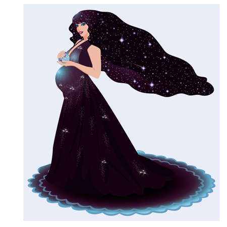 Pregnant cosmos woman Stock Vector - 17335674