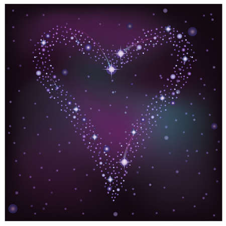 pleaded: Love card, heart of the  stars in the night sky, vector illustration