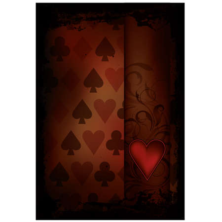 Hearts Poker card in retro style, vector illustration Stock Vector - 17376037