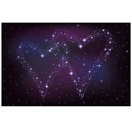 Night sky with two stars hearts, vector illustration Vector