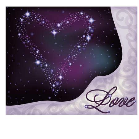 love explode: Love banner, heart of the stars in the night sky,  illustration Illustration