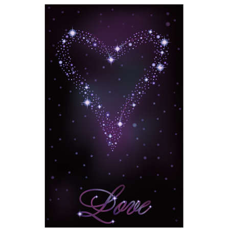 pleaded: Love banner, stars heart of  the night sky, vector illustration