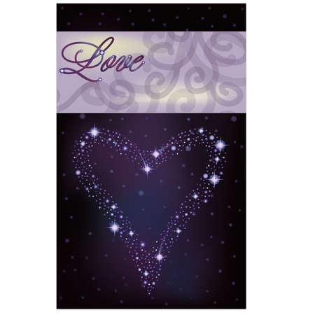 pleaded: Love invitation card, heart of the stars in the night sky