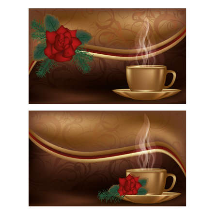Two love banners with coffee, illustration Stock Vector - 17446153