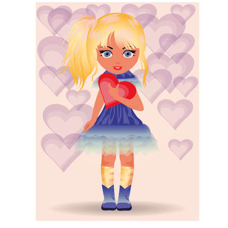 blonde teenage girl: Love card, young girl and heart   illustration
