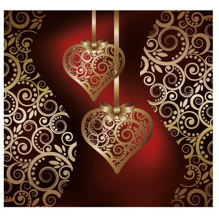 Love background with two golden hearts,  illustration Vector