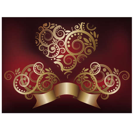 Greeting love card with golden heart,  illustration Vector