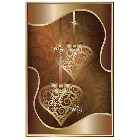 Love invitation card with two golden hearts,  illustration Vector