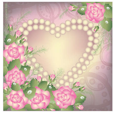 pearl necklace: Valentine s Day background with heart and pearls