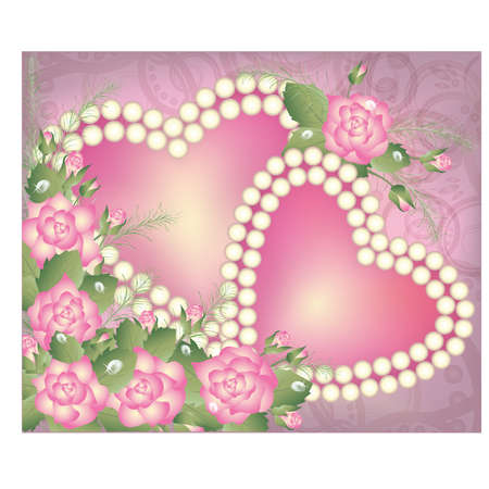 string of pearls: Valentine s Day postcard with two pearl hearts Illustration