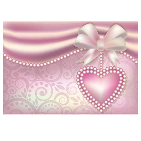 Valentine s Day banner with heart and pearls Stock Vector - 17621763