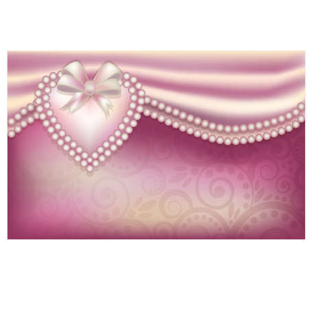 jewelery: Valentine s Day card with pearl hearts Illustration
