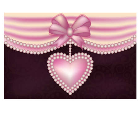 Valentine s Day love banner with pearls heart Illustration