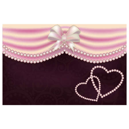 pink satin: Valentine s Day love card with two pearls heart