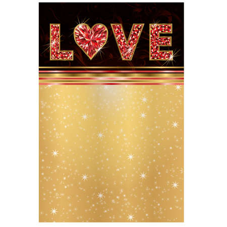 Ruby love greeting card, illustration Vector