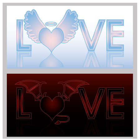 Angel and Devil hearts, illustration Stock Vector - 17712630