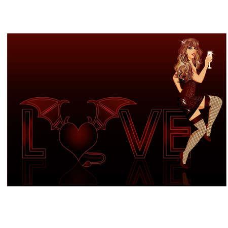 Devil love girl, illustration Stock Vector - 17712633