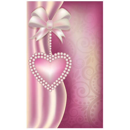 Valentine s Day vertical banner with pearls heart , illustration Vector