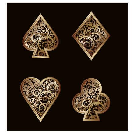 heart diamond: Set Poker golden elements , illustration