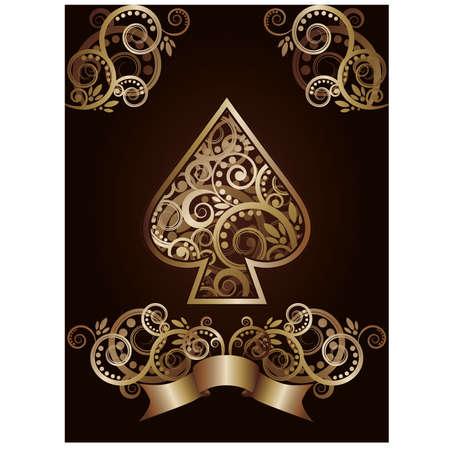 gambler: Spade ace poker playing cards, illustration