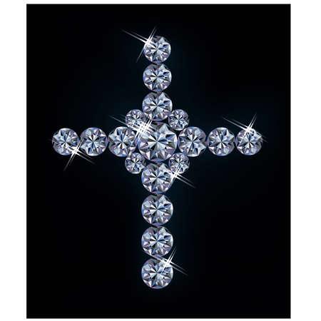 zircon: Diamond cross, vector illustration