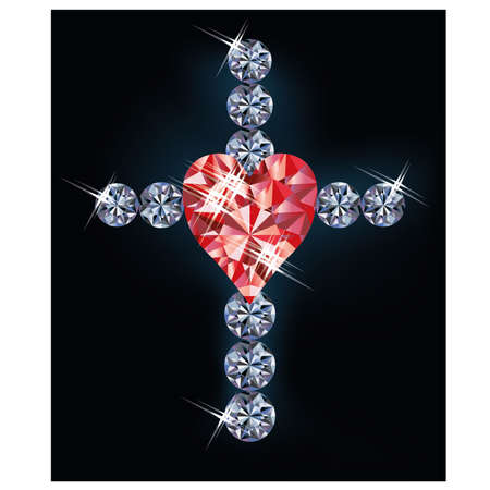 Diamond cross and ruby heart, vector illustration Vector